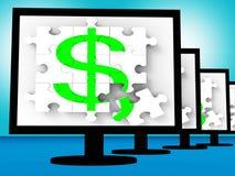Simbolo del dollaro su valuta dell'americano di manifestazioni dei monitor Immagine Stock