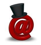 Simbolo del email con il cappello a cilindro Fotografie Stock Libere da Diritti
