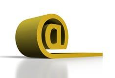 Simbolo del email dell'oro Fotografia Stock Libera da Diritti