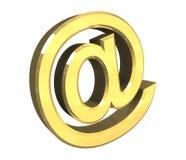Simbolo del email in oro (3d) Fotografia Stock