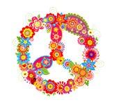 Simbolo del fiore di pace con i papaveri e Paisley Fotografia Stock