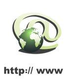 Simbolo del Internet con il globo Fotografie Stock Libere da Diritti