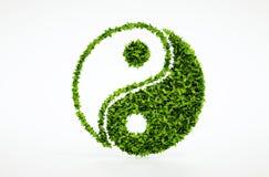 Simbolo del jang di jin di ecologia con fondo bianco Fotografie Stock