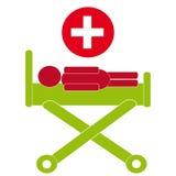 Simbolo del letto di ospedale su fondo bianco Fotografia Stock