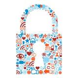 Simbolo del lucchetto con struttura delle icone di media Fotografie Stock