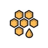 Simbolo del miele dell'ape, linea sottile icona del favo Immagini Stock