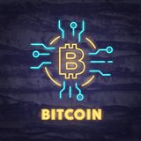 Simbolo del neon di Bitcoin Fotografie Stock