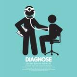 Simbolo del nero di concetto del dottore With Patient Diagnose illustrazione di stock