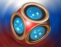 simbolo del pallone da calcio della rappresentazione 3D Fondo della bandiera della Russia 2018 Tazza di campionato del mondo di c illustrazione vettoriale