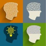 Simbolo del pensiero del cervello Fotografie Stock Libere da Diritti