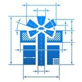 Simbolo del regalo con le linee di dimensione Immagini Stock Libere da Diritti