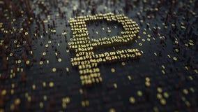 Simbolo del RUR della rublo russa fatto dei numeri dorati rappresentazione 3d Immagini Stock Libere da Diritti