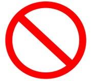 Simbolo del segno severo divieto semplice in bianco Fotografie Stock Libere da Diritti