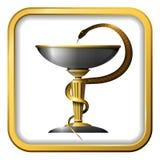 Simbolo del serpente della medicina Oro o bronzo del metallo Fotografie Stock Libere da Diritti