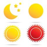 Simbolo del sole e della stella della luna Immagine Stock Libera da Diritti