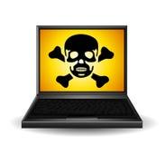 Simbolo del veleno sul computer portatile Fotografia Stock Libera da Diritti