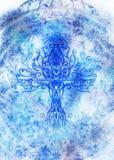 Simbolo dell'albero della vita su fondo strutturato, yggdrasil fotografie stock
