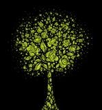 Simbolo dell'albero di Grunge dai fiori Fotografia Stock
