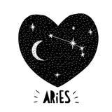 Simbolo dell'Ariete Illustrazione disegnata a mano di vettore dello zodiaco Priorità bassa stellata Progettazione puerile in bian Fotografie Stock