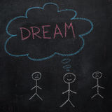 Simbolo dell'essere umano con la parola di sogno e del fumetto sulla lavagna nera Fotografia Stock