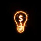 Simbolo dell'euro dentro una lampadina scintillante Fotografia Stock