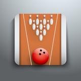 Simbolo dell'icona dei perni e della palla di bowling Immagine Stock