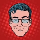 Simbolo dell'icona del fronte dell'uomo di sorriso di divertimento di Emoji Fotografia Stock