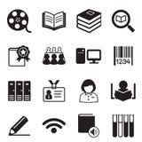 Simbolo dell'illustrazione di vettore delle icone delle biblioteche Fotografie Stock Libere da Diritti