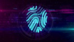 Simbolo dell'impronta digitale di Digital su fondo cyber royalty illustrazione gratis