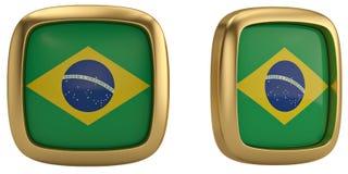 Simbolo della bandiera del Brasile isolato su fondo bianco illustrazione 3D fotografia stock libera da diritti