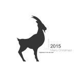 Simbolo della capra di vettore con la siluetta nera di profilo Fotografie Stock Libere da Diritti