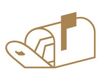 Simbolo della cassetta postale Fotografie Stock Libere da Diritti
