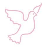 Simbolo della colomba di colore rosa Immagine Stock Libera da Diritti