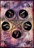Simbolo della dea e dei pentacoli di Wicca Fotografia Stock