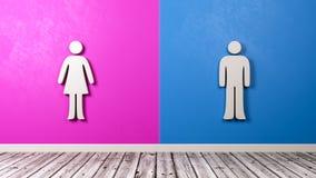 Simbolo della donna e dell'uomo contro la parete bitonale Immagine Stock