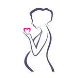 Simbolo della donna incinta Fotografia Stock Libera da Diritti