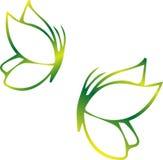 Simbolo della farfalla di verde dell'icona di Eco Illustrazione di vettore isolata sui precedenti leggeri Progettazione grafica d Immagine Stock