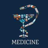Simbolo della farmacia con le icone piane mediche Fotografie Stock