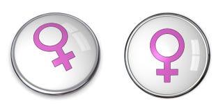 Simbolo della femmina di colore rosa di tasto Fotografie Stock Libere da Diritti
