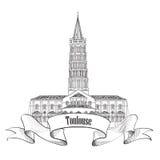 Simbolo della Francia. Schizzo del punto di riferimento di Tolosa. Fotografia Stock