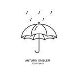 Simbolo della pioggia e dell'ombrello fatto nella linea stile d'avanguardia progettazione di previsioni del tempo Fotografia Stock Libera da Diritti