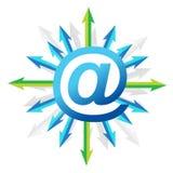 Simbolo della posta con le frecce Fotografia Stock Libera da Diritti