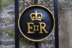 Simbolo della regina Elizabeth II alla torre di Londra Fotografia Stock