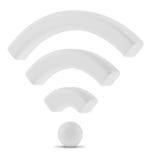 Simbolo della rete wireless dei Wi Fi, rappresentazione 3d Immagini Stock