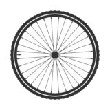 Simbolo della ruota del mtb della bicicletta, vettore Gomma della bici, pneumatico della montagna con la valvola Ciclo di forma f illustrazione vettoriale