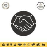 Simbolo della stretta di mano nel cerchio icona Immagine Stock Libera da Diritti