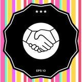 Simbolo della stretta di mano nel cerchio icona Immagine Stock