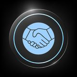 Simbolo della stretta di mano nel cerchio icona Fotografia Stock