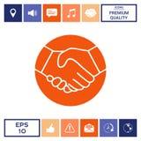 Simbolo della stretta di mano nel cerchio icona Immagini Stock Libere da Diritti