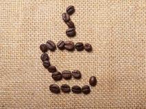 Simbolo della tazza dei chicchi di caffè Immagine Stock